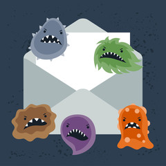 Abstract illustration email spam virus infection.