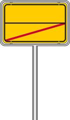 Ortsschild Rückseite gelb