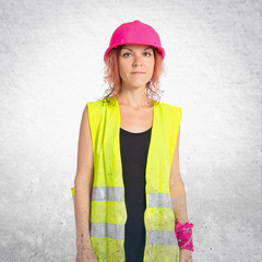 Worker woman over white background