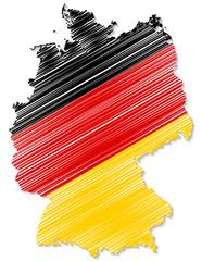 Deutschlandkarte in Landesfarben Gekritzel mit Schatten