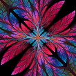 Diagonal symmetrical pattern of the leaves in pink and blue. Col