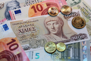 euro and drachma, banknotes and coins