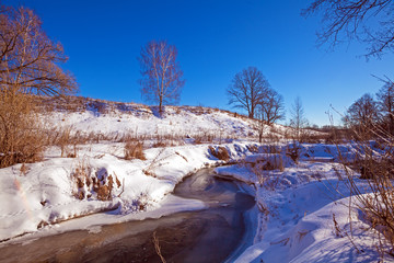 Forest River with Snow at Early Spring