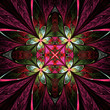 canvas print picture - Symmetrical flower pattern in stained-glass window style. Green,