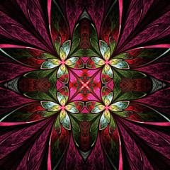 Symmetrical flower pattern in stained-glass window style. Green,