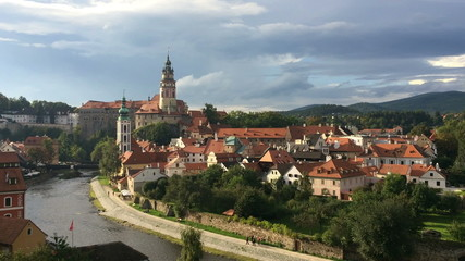 Panorama of city and historic castle in Cesky Krumlov