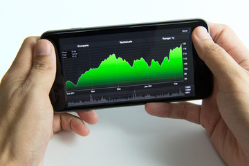 Mobile phone with stock chart