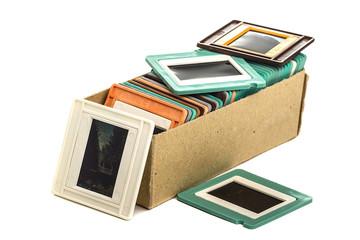 Old slides in a cardboard box