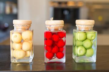 fruit in bottles