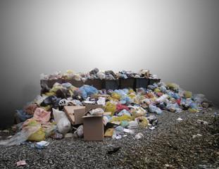 Waste debris scattered in nature.