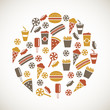 Colorful snack icons