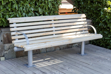 Wooden summer bench