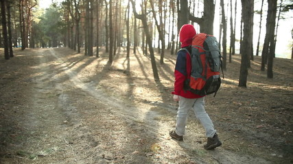 Child  Adventure on Mountain Trails, hiking with backpack