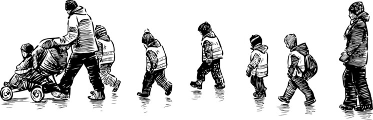 kindergarten kids for a walk