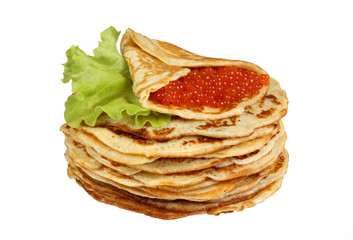 isolated pancakes with red caviar