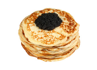 isolated pancakes with black caviar