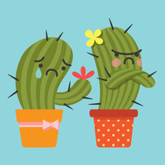 reconcile and loving couple of cactus