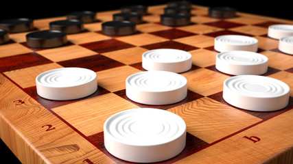 Checkers Game Wooden Board