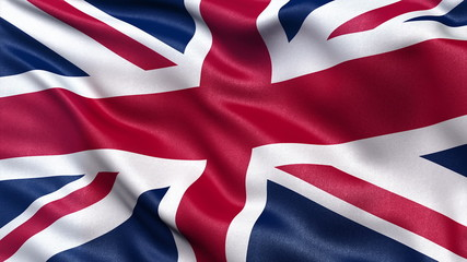 Seamless loop of the UK flag in the wind with high detail