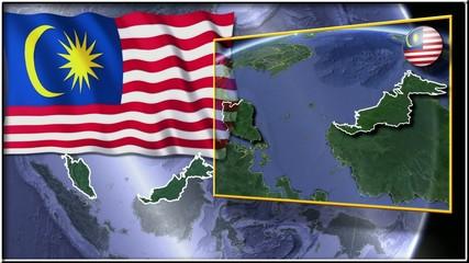 Malaysia flag and map animation