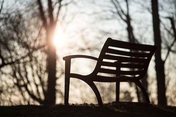 silhouetted park bench in sunset light