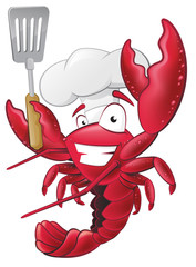 Cute Lobster Chef Character holding a Spatula.