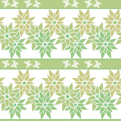 Seamless pattern with cute cartoon flowers and butterfly print b