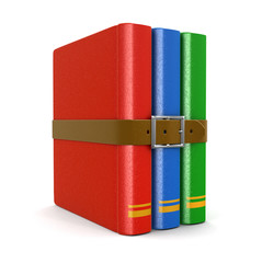 Stack of book with belt (clipping path included)