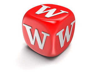Dice with letter W (clipping path included)