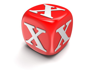 Dice with letter X (clipping path included)