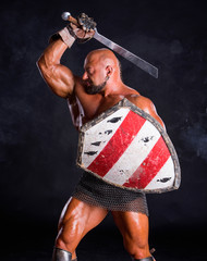 Handsome muscular ancient warrior