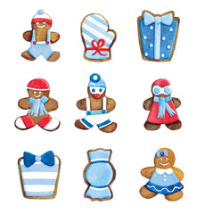 Christmas cookies set - funny decorated