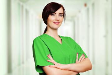 Ärztin in grünen Kittel