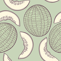 Outline stylized seamless pattern with melon