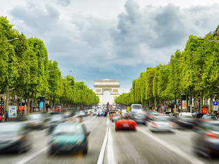 The view of the Triumphal arch to the Champs-Elysees in Paris, F