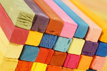 Multicolored background made of art colourful pastel chalks