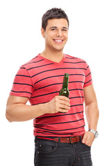 Casual young guy drinking beer