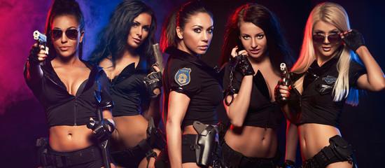 Group of sexy woman like police woman