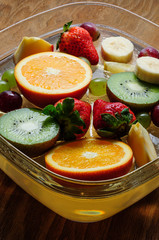 juicy fruits on a wooden board