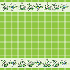 Vector pattern with grass and flowers
