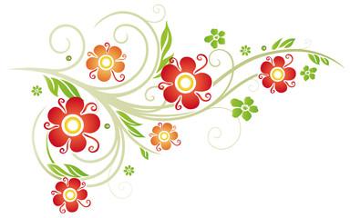 Frühling, bunte Blumen, rot, orange