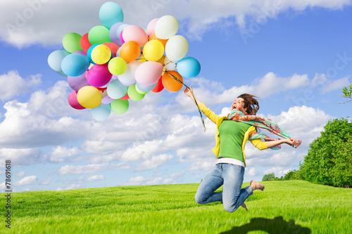 canvas print picture Frau mit Luftballons