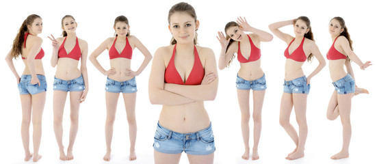 Teen in Hot Pants und Bikini als Klon