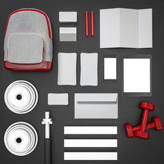 Mockup fitness elements. Bodybuilding.