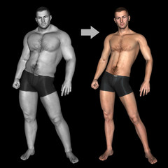 Human strong man and bodybuilder concept