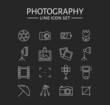 Photo icons set. Vector outline symbols. - 78692013