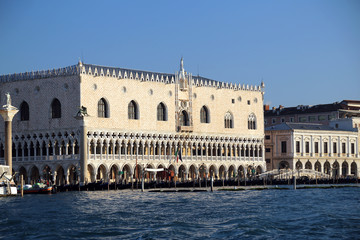 Doge's Palace from the adriatic sea in Venice Italy