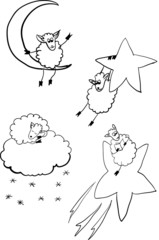 set of sheep in space, contour vector illustration