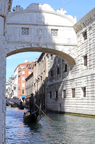 Fotobehang Venice bridge of sighs and the prisons of Venice in Italy