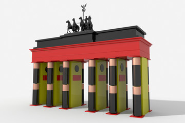 Porta di Brandeburgo 3D colori Germania e batterie stilo AA